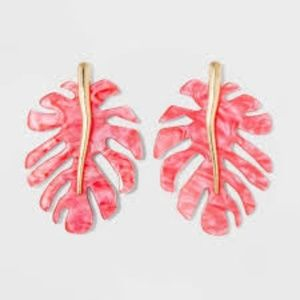 SUGARFIX by BaubleBar Resin Monstera Leaf Earrings